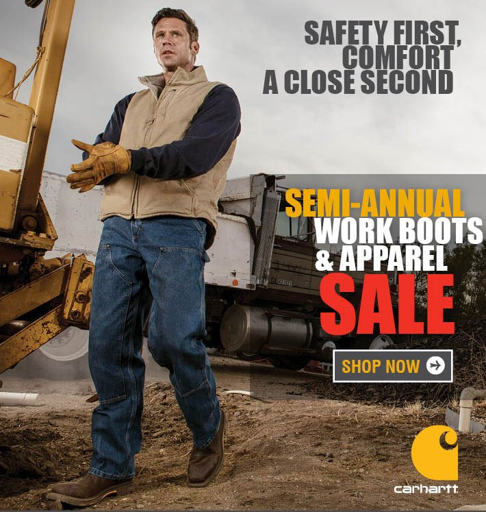 Semi-Annual Work Boots and Apparel Sale.