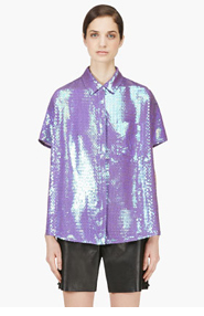 ACNE STUDIOS Purple Silk Iridescent Rogue Paillette Blouse for women