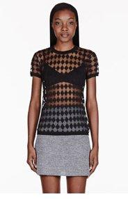 ACNE STUDIOS Black Semi-sheer Argyle Bliss T-shirt for women