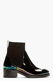 ACNE STUDIOS Black Patent Leather Oil Slick Chelsea Boots for women