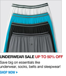 underwear sale up to 50 percent off - save big on essentials like underwear, socks, belts and sleepwear! - shop now
