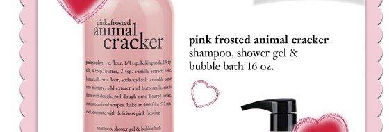 00564210 - 16oz pink frosted animal cracker shower gel - sale price $13.60