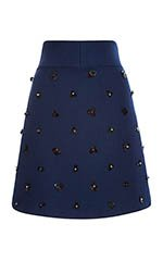 Wool Twill Coating A-Line Skirt With Embroidery