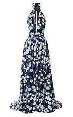 Mini Rose Silk Twill Deep V Gown