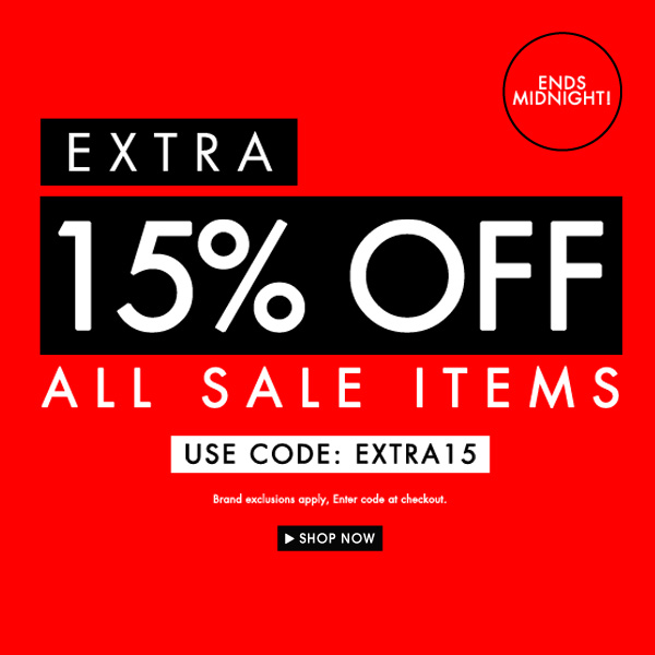Get 15% off all sale items! Use code EXTRA15