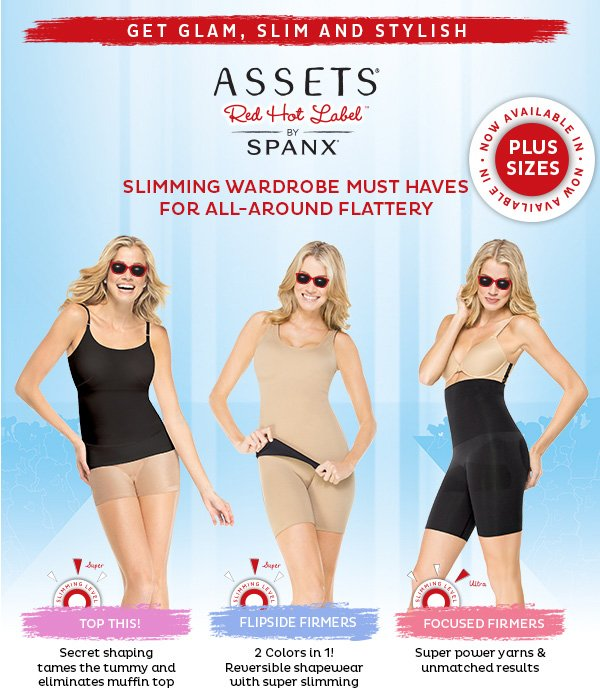 Get glam, slim and stylish. Assets Red Hot Label by Spanx..  Slimming Wardrobe must haves for all-around flattery.