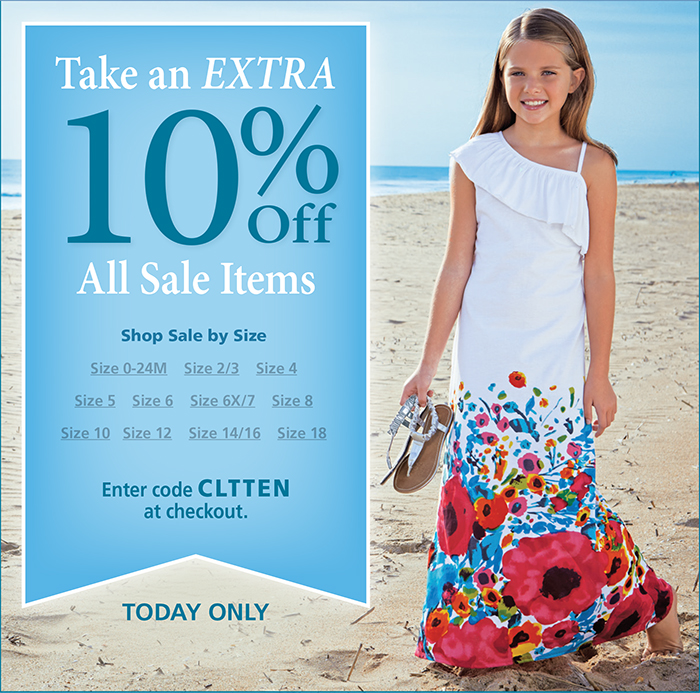 Take an extra 10% off all sale items with code CLTTEN at checkout