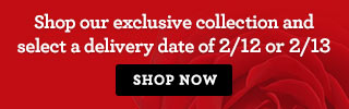 Shop our exclusive collection and select a delivery date of 2/12 or 2/13. Shop Now