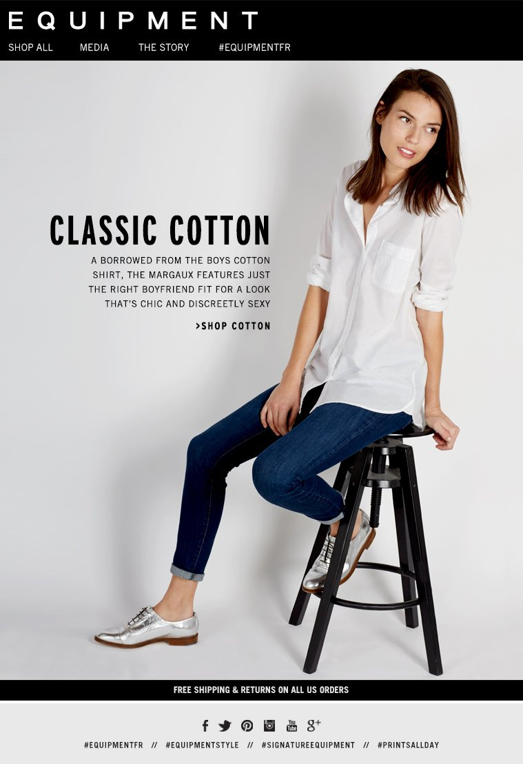 CLASSIC COTTON A BORROWED FROM THE BOYS COTTON SHIRT, THE MARGAUX FEATURES JUST THE RIGHT BOYFRIEND FIT FOR A LOOK THAT'S CHIC AND DISCREETLY SEXY. >SHOP COTTON