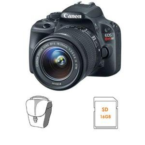 Adorama - Canon EOS Rebel SL1 Digital SLR Camera with EF-S 18-55mm f/3.5-5.6 IS Lens - Bundle - with 16GB SDHC Memory Card, Camera Carrying Case