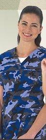 Tafford Blue Camo 2 Pocket V-Neck Yoke Seam Scrub Top - Shop Now