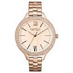 Caravelle 44L125 Womens Crystal New York Rose Gold Dial Rose Gold Steel Watch