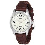 Timex T2N644 Women's Weekender Casual Woven Brown Leather Strap White Dial Stainless Steel Watch