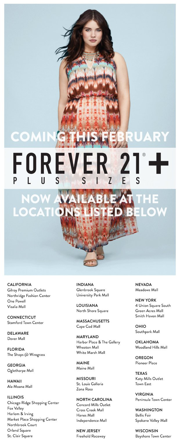 Forever 21+ Expansion Stores