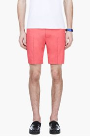 CALVIN KLEIN COLLECTION Coral Red Pleated Shorts for men