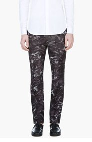 CALVIN KLEIN COLLECTION Black Digital Water Print Trousers for men