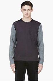 CALVIN KLEIN COLLECTION Heathered Grey & Black Crewneck Sweater for men