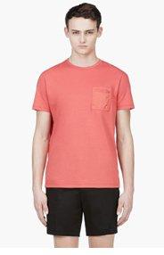 CALVIN KLEIN COLLECTION Coral Red Nylon Pocket T-Shirt for men
