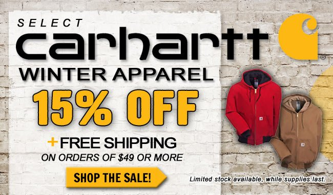 Save Up To 15% On Select Carhartt Apparel + FREE Shipping!