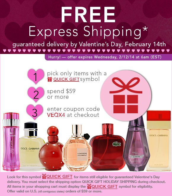 Free Express Shipping* - Guaranteed by Valentine's Day