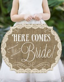 Burlap Lace Flower Girl Sign