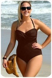 Always For Me Chic Solids - 1 Pc Twist Bandeau Swimsuit  #67163W - BROWN WAS $79 NOW $39.50
