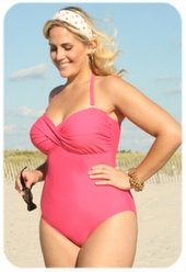 Always For Me Chic Solids  - 1 Pc Twist Bandeau Swimsuit  #67163W - CORAL WAS $79 - NOW $39.50