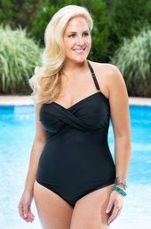 Always For Me Chic Solids - 1 Pc Twist Bandeau Swimsuit  #67163W - Black WAS $79 NOW $39.50
