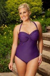 Always For Me Chic Solids - 1 Piece Twist Bandeau Swimsuit #67163W - PLUM WAS $79 - NOW $39.50