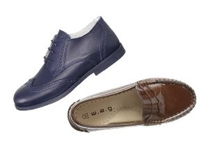 Navy & Brown Kid's Shoes