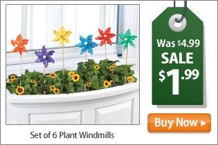 Set of 6 Plant Windmills
