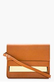SOPHIE HULME Tan leather gold Tab Handbag for women