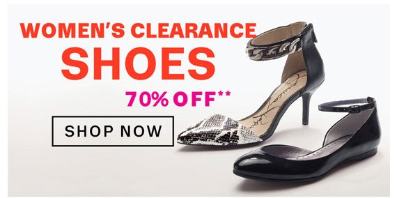 Women's Clearance Shoes 70% Off**. Shop Now