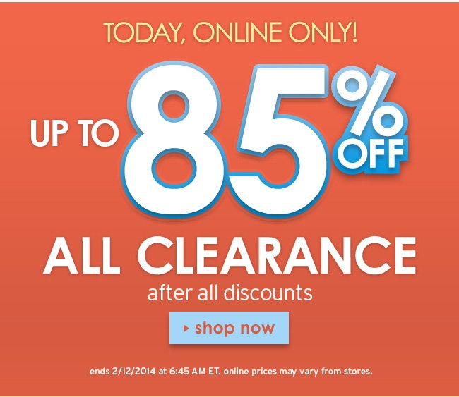 Up to 85% off all clearance