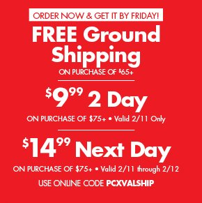 Free ground Shipping on purchase $65+