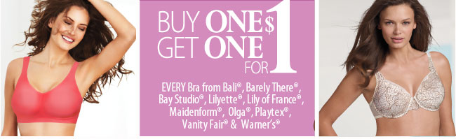 In-store bras Buy one get one for $1