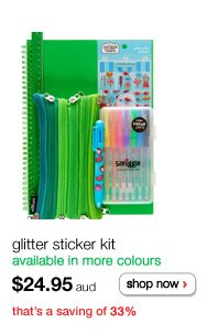 glitter sticker kit - available in more colours - $24.95aud - shop now - that's a saving of 33%
