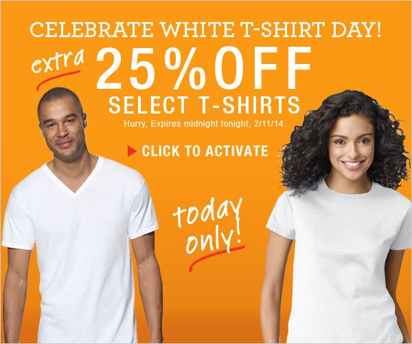 Get an extra 25% off select T-Shirts.