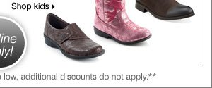 BONUS 70% off shoe blowout from  Clarks®, Earth®, MIA® Girls and more! Shop kids.