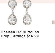 Chelsea CZ Surround Drop Earrings.