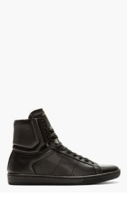 SAINT LAURENT Black Leather High-Top Sneakers for men