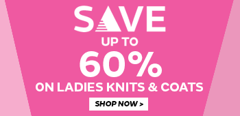 Save up to 60% on ladies knits & coats