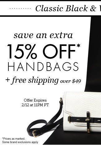 Classic Black & White Handbags | Extra 15% Off* + Free Shipping Over $49 | 2 Days Only! Shop All White Handbags