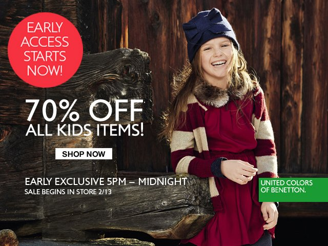 Shop Baby, Toddler, Tween and Kids collections now 70% off. While Supplies Last.