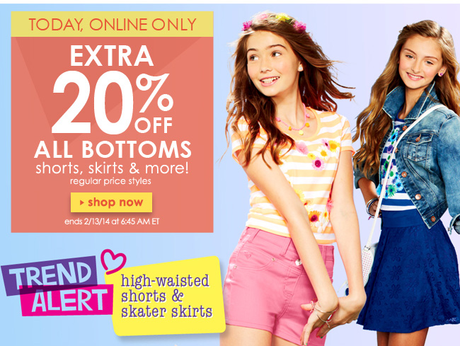 extra 20% off all bottoms