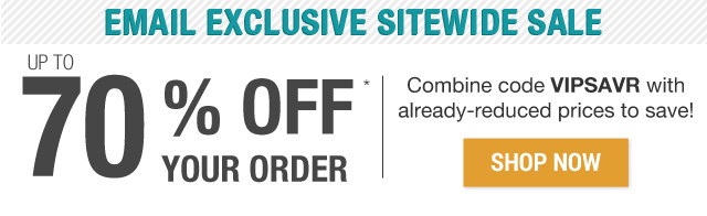 Up to 70% off your order with code 70SAVR