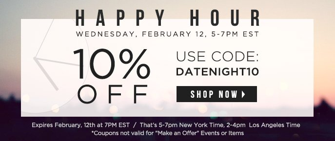 Happy Hour - $20 Off $100
