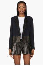AVELON Navy Wool & Leather Fellow Blazer for women