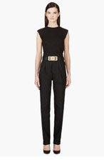 BALMAIN Black Pleated High-Waist Trousers for women