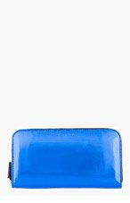 MARNI EDITION Metallic Blue Leather Continental Wallet for women